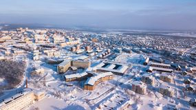 Aerial winter view of Kiruna, the northernmost town in Sweden, province of Lapland, winter sunny picture shot from drone. Aerial winter view of Kiruna, the Royalty Free Stock Images