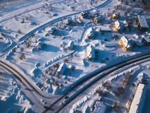 Aerial winter view of Kiruna, the northernmost town in Sweden, province of Lapland, winter sunny picture shot from drone. Aerial winter view of Kiruna, the Royalty Free Stock Photos