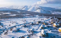 Aerial winter view of Kiruna, the northernmost town in Sweden, province of Lapland, winter sunny picture shot from drone. Aerial winter view of Kiruna, the Royalty Free Stock Photo