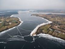 Aerial view of Rajgrodzkie Lake near Rajgrod. Aerial winter view of Rajgrodzkie Lake near Rajgrod, Poland Royalty Free Stock Images
