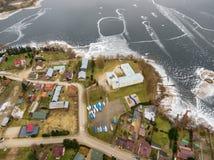 Aerial view of school in Rajgrod. Aerial winter view of school in Rajgrod, Poland Royalty Free Stock Photo