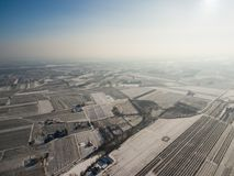 Aerial view of winter fruit orchards near Czersk. Aerial winter view of winter fruit orchards near Czersk, Poland royalty free stock photography