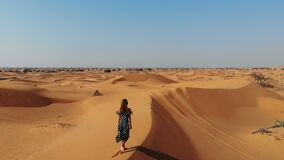AERIAL. A woman in a mist in desert landscape at Sunraise near Dubai, UAE
