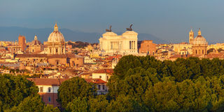 Aerial wonderful view of Rome at sunset, Italy Royalty Free Stock Images