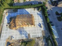 Aerial wooden house commercial building construction royalty free stock images