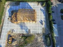 Aerial wooden house commercial building construction stock photography
