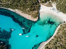 Aerial: The beach of Cala Mondrago in Mallorca, Spain. Aerial: Yachts in the bay of Mallorca in summer Royalty Free Stock Photos