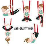 Aerial Yoga. Aero Yoga. Anti-gravity Yoga. Stock Images