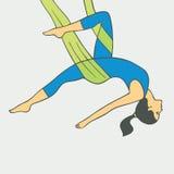 Aerial Yoga. Aero Yoga. Anti-gravity Yoga. Royalty Free Stock Photos