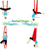 Aerial Yoga. Anti-gravity Yoga. Woman doing anti gravity yoga exercise stock illustration