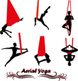 Aerial Yoga. Anti-gravity Yoga. Woman doing anti gravity yoga exercise. Silhouette stock illustration