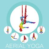 Aerial yoga banner with woman silhouette. In different yoga poses. Girl doing anti gravity yoga exercises in hammocks. Female fitness, healthy lifestyle vector Stock Image