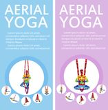 Aerial yoga flyers with woman silhouette. In different yoga poses. Girl doing anti gravity yoga exercises in hammocks. Female fitness practice, healthy Royalty Free Stock Image