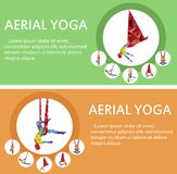 Aerial yoga flyers with woman silhouette. In different yoga poses. Girl doing anti gravity yoga exercises in hammocks. Female fitness practice, healthy Royalty Free Stock Photography