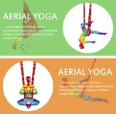 Aerial yoga flyers with woman silhouette. In different yoga poses. Girl doing anti gravity yoga exercises in hammocks. Female fitness practice, healthy Royalty Free Stock Photo