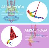Aerial yoga flyers with woman silhouette. In different yoga poses. Girl doing anti gravity yoga exercises in hammocks. Female fitness practice, healthy Stock Photography