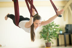 Aerial yoga: Flying in hammock in Salabhasana pose. Young beautiful yogi woman doing aerial yoga practice in purple hammock in fitness club. Attractive model stock photography