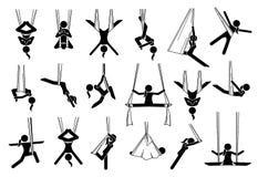 Aerial yoga icons. royalty free illustration