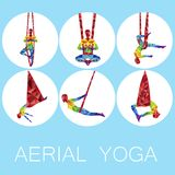Aerial yoga icons with woman silhouette. In different yoga poses. Girl doing anti gravity yoga exercises in hammocks. Female fitness, healthy lifestyle vector Stock Image
