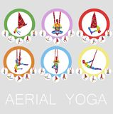 Aerial yoga icons with woman silhouette. In different yoga poses. Girl doing anti gravity yoga exercises in hammocks. Female fitness, healthy lifestyle vector Royalty Free Stock Photography