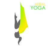 Aerial yoga logo template. Anti-gravity yoga Royalty Free Stock Images