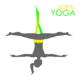 Aerial yoga logo template. Anti-gravity yoga Stock Photos