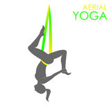 Aerial yoga logo template. Anti-gravity yoga. Flying yoga logo template. Anti-gravity yoga. Aerial yoga royalty free illustration
