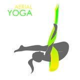 Aerial yoga logo template. Anti-gravity yoga Stock Images
