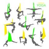Aerial yoga logo template. Anti-gravity yoga Royalty Free Stock Photo