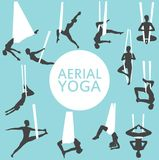 Aerial yoga set with young woman silhouettes. In different yoga poses. Girl doing anti gravity yoga exercises in hammocks. Female fitness practice, sport and Stock Photos