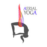 Aerial yoga for women. Flying yoga logo. Anti-gravity yoga. Aerial yoga for women Royalty Free Illustration