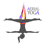 Aerial yoga for women. Flying yoga logo. Anti-gravity yoga. Aerial yoga for women Stock Illustration