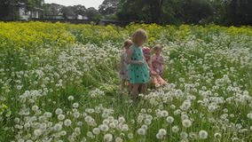 Aerial: Young blonde hippie mother having quality time with her baby girls at a park dandelion field - Daughters wear. Similar dresses with strawberry print stock footage