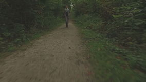 Aerial of a young woman walking through a forest, very low altitude tracking shot backwards. In front of the woman, medium shot stock video