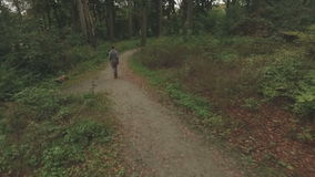 Aerial of a young woman walking through a forest, very low altitude tracking shot backwards. Aerial of a young woman walking through a forest, low altitude stock video footage