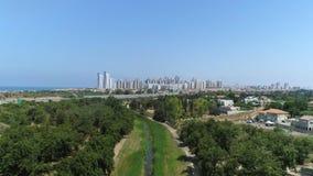 Aerial city shot on modern residential buildings stock video