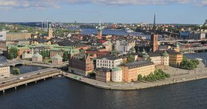 Aerial zoom in view on Riddarholmen island in Stockholm stock footage