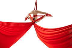 Aerialist doing acrobatic tricks on aerial silks royalty free stock photography