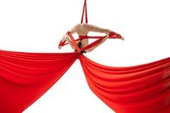 Aerialist som gör akrobatiska trick på flyg- silke royaltyfri fotografi