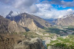 Aeriall view Hunza Valley under blue cloudy sky,Gilgit, stock photo