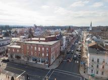Aerials of Historic Littlestown, Pennsylvania neighboring Gettysburg royalty free stock photography