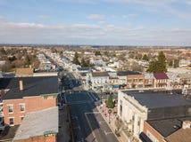 Aerials of Historic Littlestown, Pennsylvania neighboring Gettysburg royalty free stock photo