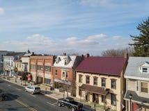 Aerials of Historic Littlestown, Pennsylvania neighboring Gettysburg stock photos
