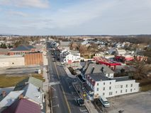 Aerials of Historic Littlestown, Pennsylvania neighboring Gettysburg royalty free stock images
