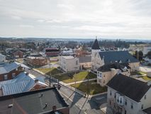 Aerials of Historic Littlestown, Pennsylvania neighboring Gettysburg royalty free stock photo