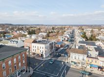 Aerials of Historic Littlestown, Pennsylvania neighboring Gettysburg stock images