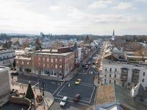 Aerials of Historic Littlestown, Pennsylvania neighboring Gettysburg stock photography