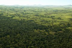Aerials of Lewa Conservancy showing fence line of protected areas and encroaching farming in Kenya, Africa royalty free stock photo