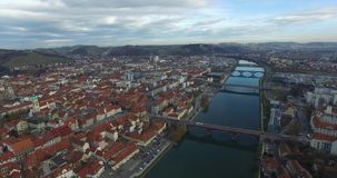 Aerials view of Maribor city in the overcast day