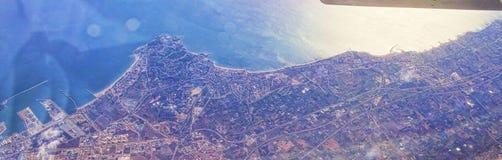 Aerialview del mar y de la costa Fotos de archivo libres de regalías